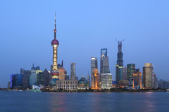 Shanghai pudong lujiazui  night scene Royalty Free Stock Photo