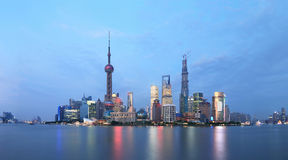 Shanghai pudong lujiazui  night scene Stock Photography