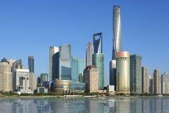 Shanghai, pudong lujiazui, wolkenkrabbers Royalty-vrije Stock Afbeelding