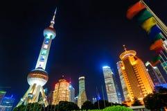 Shanghai Pudong natt Arkivbilder