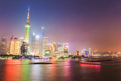 Shanghai pudong at night. Glittering modern metropolis,China Stock Images