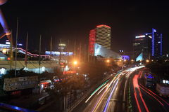 Shanghai pudong at night Stock Photography