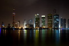 Shanghai Pudong Night Skyline Royalty Free Stock Photo