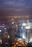 Shanghai Pudong night view. Aerial view of shanghai at night from jinmao building Royalty Free Stock Photo