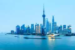 Shanghai pudong in nightfall. Shanghai pudong panorama in nightfall , China Royalty Free Stock Images