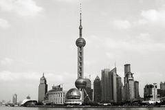 Shanghai - Pudong - Oriental Pearl Tower. Famous Business district in China - Shanghai - It is called Pudong. It is the opposite of the Puxi district and Royalty Free Stock Photo