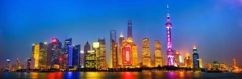 Shanghai Pudong-Panorama Stockbilder