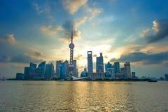 Shanghai Pudong skyline. Beautiful Shanghai Pudong skyline in sunrise Stock Image