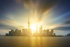 Shanghai Pudong skyline. Beautiful Shanghai Pudong skyline in sunrise Stock Photos