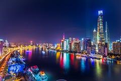 Shanghai Pudong-Skyline nachts, China Lizenzfreie Stockfotos
