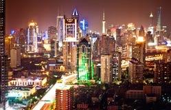 Shanghai Pudong skyline at night. Beautiful Shanghai Pudong skyline taken at night Stock Photo