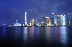 Shanghai Pudong skyline at night Royalty Free Stock Image