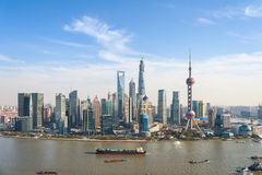 Shanghai pudong skyline in sunny sky Stock Photo