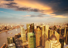 Shanghai pudong skyline at sunset Royalty Free Stock Photo
