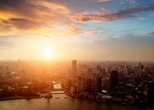 Shanghai pudong skyline at sunset Stock Photography