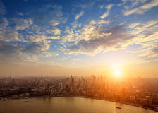 Shanghai pudong skyline at sunset Royalty Free Stock Photography