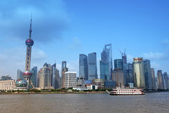 Shanghai Pudong skyline view from the Bund - Stock Photo