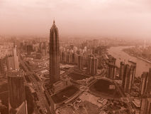 Shanghai, Pudong, view from the tower, vintage effect. Shanghai, Pudong, view from the tower to Waitan Royalty Free Stock Image