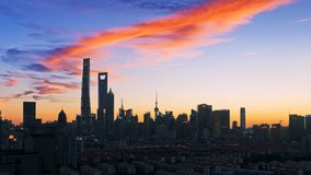 Shanghai Pudong-Zonsondergangscène royalty-vrije stock fotografie