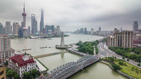 Shanghai rainy day aerial river bay traffic river panorama 4k time lapse china stock video footage