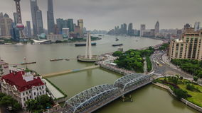 Shanghai rainy day river bay traffic river bridge aerial 4k time lapse china stock video