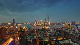 Shanghai river bay sunset twilight roof top panorama 4k time lapse china. China shanghai city river bay sunset twilight famous roof top panorama 4k time lapse stock footage