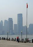 Shanghai riverfront with flag Stock Photography