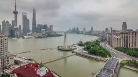 Shanghai roof top aerial river traffic river bridge panorama 4k time lapse china. China shanghai roof top aerial river bay traffic river bridge panorama 4k time stock video