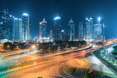 Shanghai's financial center at night Royalty Free Stock Image