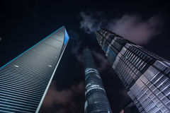 Shanghai's Financial ditrict night view Royalty Free Stock Photos