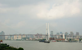 Shanghai's Huangpu River and Nanpu Bridge Stock Photography