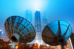Shanghai's skyscrapers and satellite antenna. Royalty Free Stock Photography