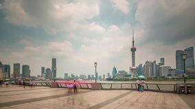 Shanghai scape day light river bay downtown panorama 4k time lapse china stock video