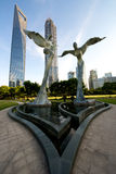 Shanghai Sculptures with tall building Royalty Free Stock Photography