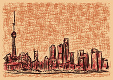 Shanghai sketch. An illustration of sketch of the city of shanghai stock illustration