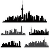 Shanghai skiline set. Buildings silhouette collection. Stock Images