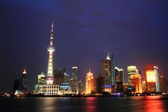 Shanghai skyline. A night scene shot of the Lujiazui CBD skyscrapers in Pudong in Shanghai. Oriental Pearl, Jinmao Tower and Shanghai World Financial Center are Stock Photos