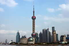Shanghai skyline. Skyline of new Shanghai business distric Pudong including the oriental TV tower Stock Photography