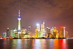 Shanghai skyline. (panorama) at night scene. People republic of China Stock Photos