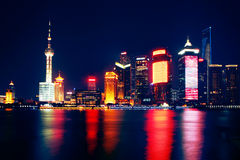 Shanghai Skyline. Nightview of Shanghai's new financial district by Huangpu river, Pudong, Shanghai Bund Royalty Free Stock Photography