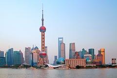 Shanghai skyline. Photo of modern buildings by river Pudong Skyline Shanghai, China Royalty Free Stock Photos