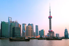 Shanghai skyline. Photo of modern buildings by river Pudong Skyline Shanghai, China Stock Images