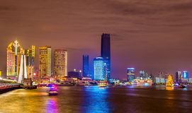 Shanghai skyline above the Huangpu River at night Stock Photos
