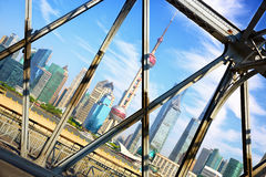 Shanghai skyline across Garden Bridge Royalty Free Stock Photography