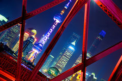 Shanghai skyline across Garden Bridge Stock Image