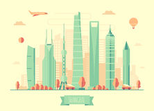Shanghai skyline architecture vector illustration. With plane cars and air balloon flat design royalty free illustration