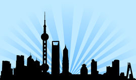 Shanghai skyline background. Vectored illustration as silhouette of the chinese city of shanghai, by borders of the skyline, with skyscrapers and towers and a vector illustration