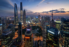 Shanghai Skyline during the Blue Hour Royalty Free Stock Images