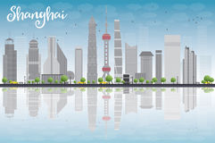 Shanghai skyline with blue sky and grey skyscrapers Stock Photo