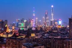 Shanghai Skyline. Shanghai, China - Oct 3, 2015: Elevated  view of Shanghai skyline at night Royalty Free Stock Photography